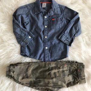 Denim Shirt & Camo Pants